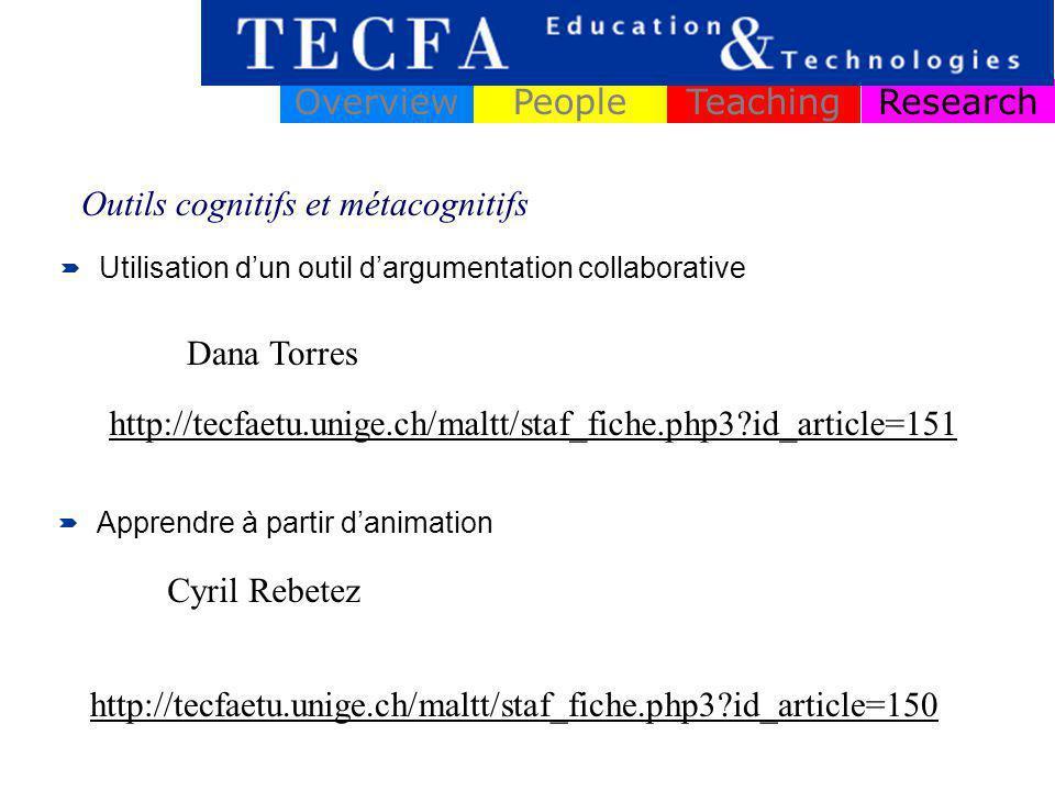 ResearchOverviewPeopleTeaching Design et test de scenario collaboratif dans le secondaire Systèmes dinformation et de communication innovants Michele Notari Outil de support à la pédagogie de projets à distance Vivian Synteta http://tecfa.unige.ch/guides/methodo/edu-tech/thesis-examples/design-instructional-quasi-experimental/notari-CSCL-scripting-biology.pdf http://tecfa.unige.ch/guides/methodo/edu-tech/thesis-examples/theory-building-from-design/synteta-eva-pm-pbl.pdf