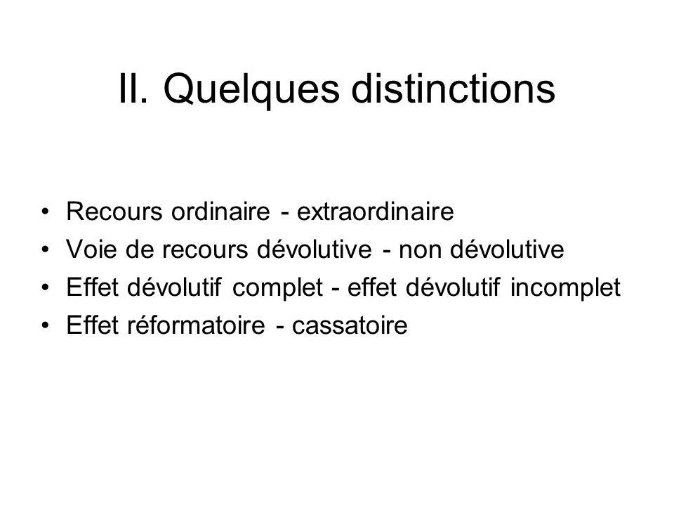 II. Quelques distinctions Recours ordinaire - extraordinaire Voie de recours dévolutive - non dévolutive Effet dévolutif complet - effet dévolutif inc