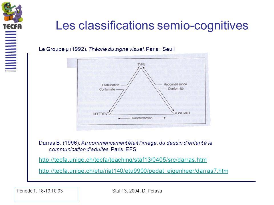 Période 1, 18-19.10.03 Staf 13, 2004, D. Peraya Les classifications semio-cognitives Darras B. (1996). Au commencement était limage: du dessin denfant