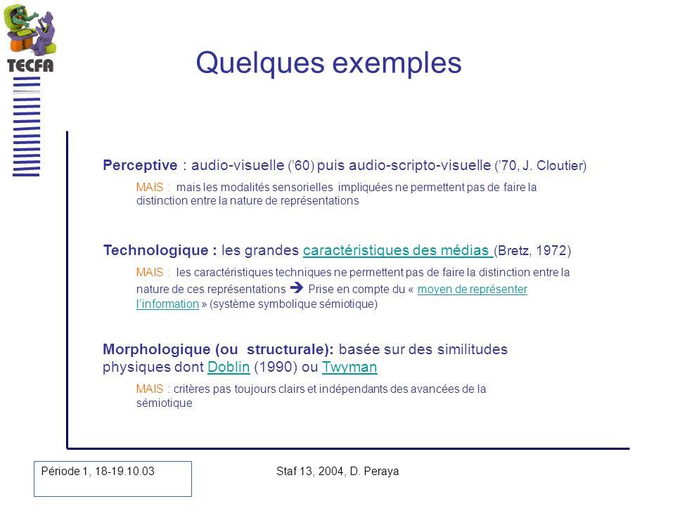 Période 1, 18-19.10.03 Staf 13, 2004, D. Peraya Quelques exemples Technologique : les grandes caractéristiques des médias (Bretz, 1972)caractéristique