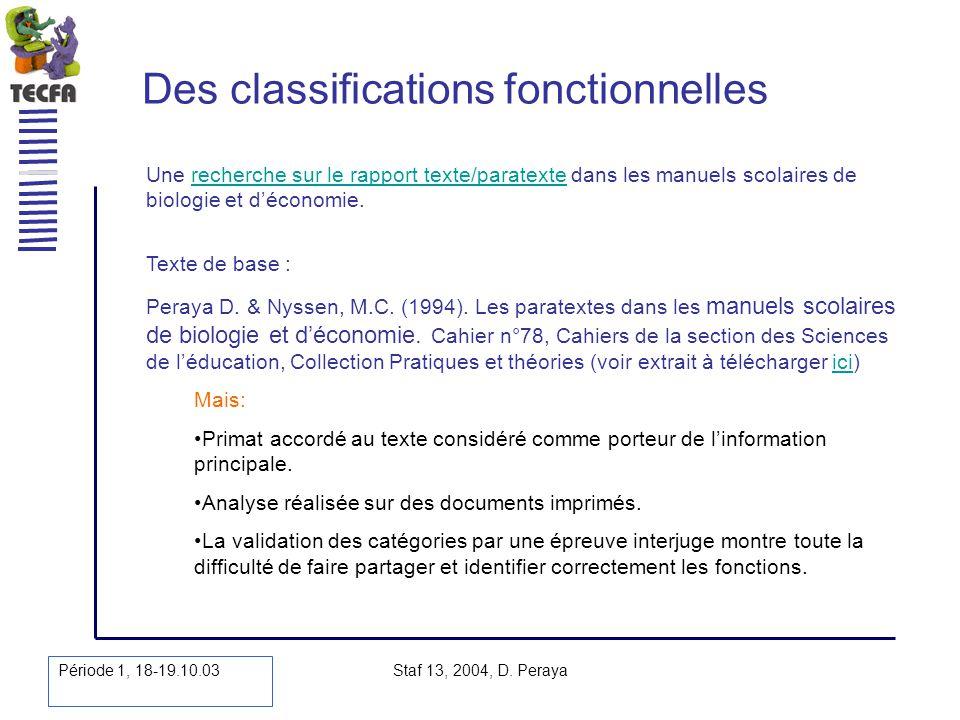 Période 1, 18-19.10.03 Staf 13, 2004, D. Peraya Des classifications fonctionnelles Une recherche sur le rapport texte/paratexte dans les manuels scola