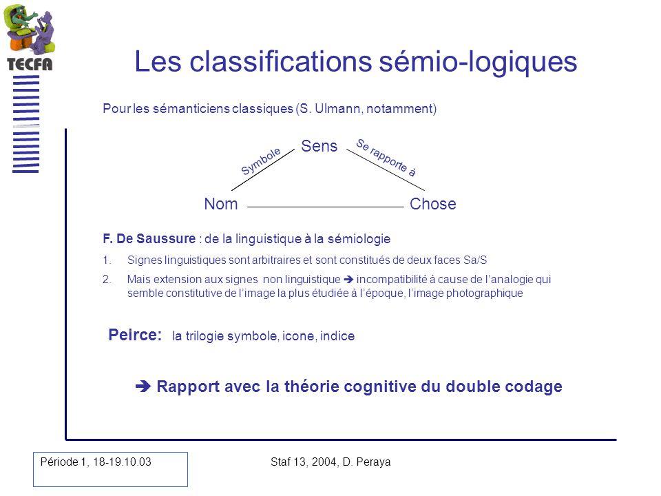 Période 1, 18-19.10.03 Staf 13, 2004, D. Peraya Les classifications sémio-logiques Pour les sémanticiens classiques (S. Ulmann, notamment) Peirce: la
