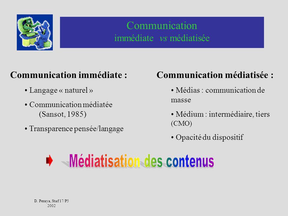 D. Peraya, Staf 17/P5 2002 Médiatisation Média de masse, « mise en média » Médiation de laction humaine par un dispositif « tiers », qui sinterpose en