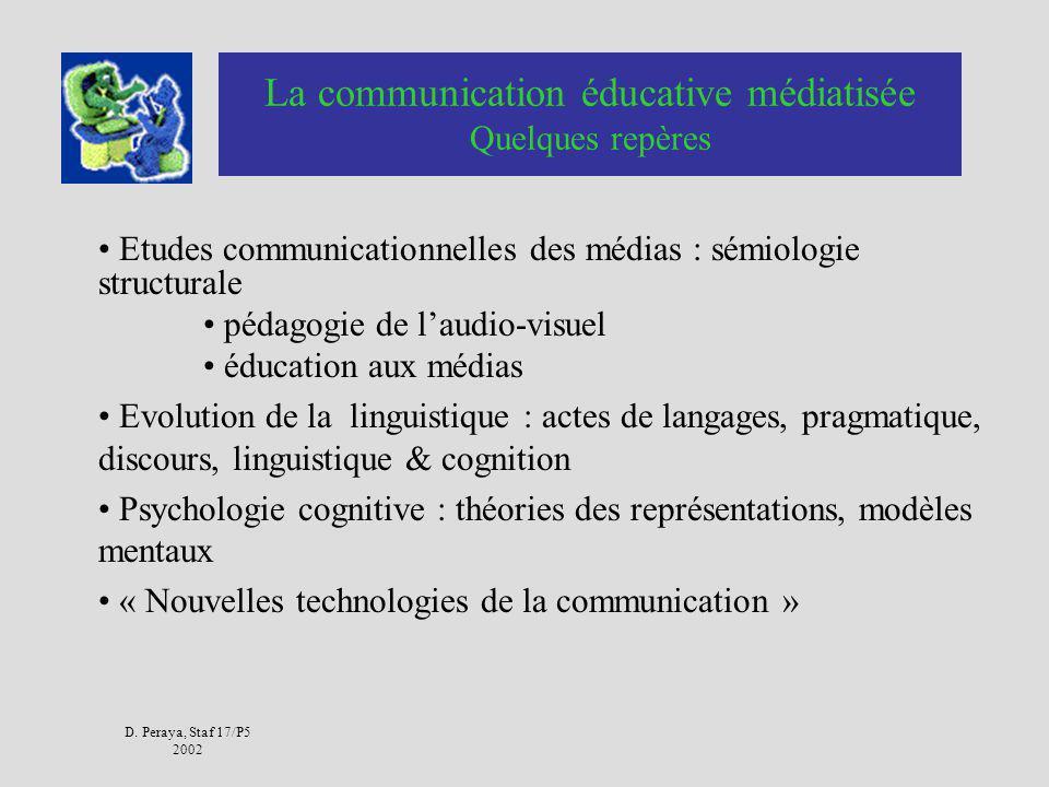 D. Peraya, Staf 17/P5 2002 Communication immédiate vs médiatisée Communication médiatisée : Médias : communication de masse Médium : intermédiaire, ti