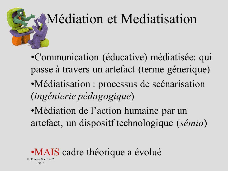 D. Peraya, Staf 17/P5 2002 La communication éducative médiatisée Quelques repères Etudes communicationnelles des médias : sémiologie structurale pédag