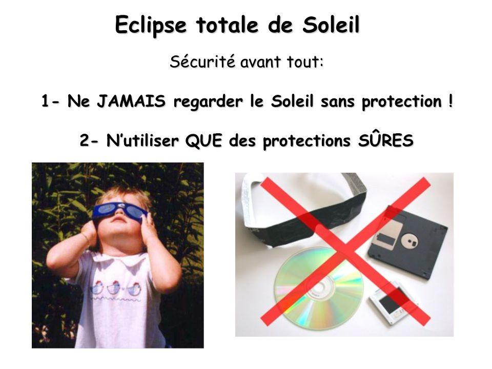 Eclipse totale de Soleil Sécurité avant tout: 1- Ne JAMAIS regarder le Soleil sans protection .