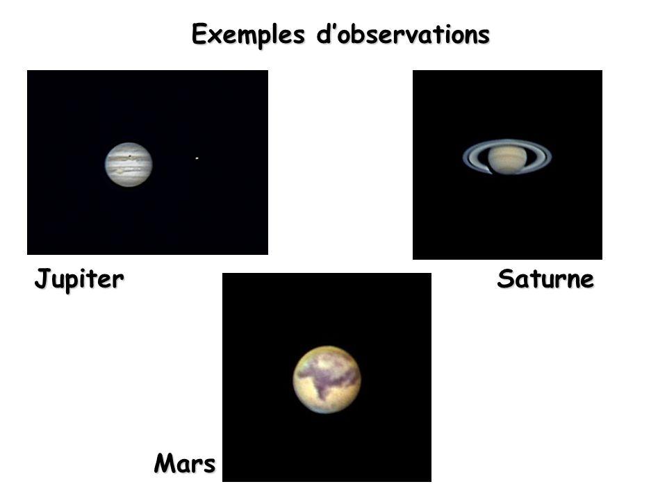 Exemples dobservations Mars SaturneJupiter