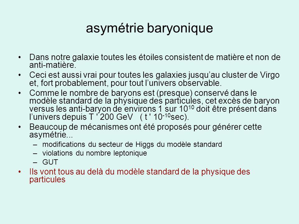 asymétrie baryonique Dans notre galaxie toutes les étoiles consistent de matière et non de anti-matière. Ceci est aussi vrai pour toutes les galaxies