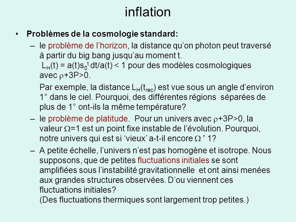 inflation Problèmes de la cosmologie standard: –le problème de lhorizon, la distance quon photon peut traversé à partir du big bang jusquau moment t.