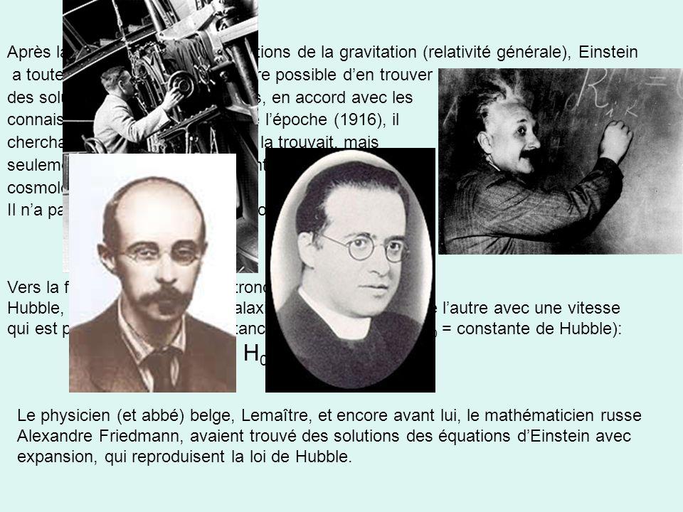 Après la découverte de ses équations de la gravitation (relativité générale), Einstein a toute suite réalisée quil doit être possible den trouver des