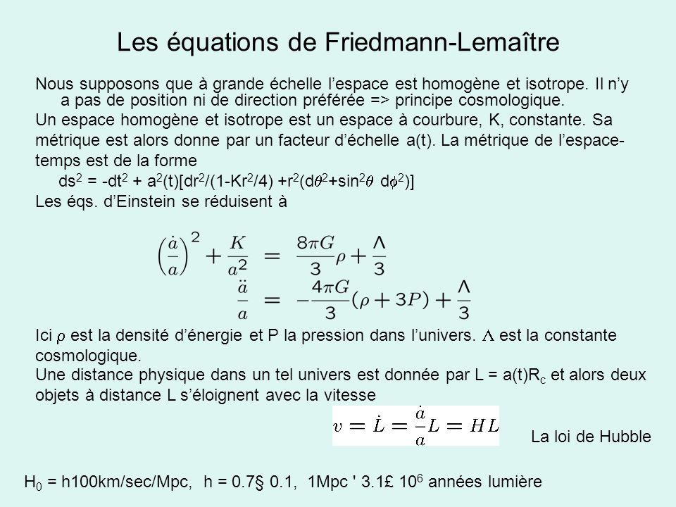 Les équations de Friedmann-Lemaître Nous supposons que à grande échelle lespace est homogène et isotrope. Il ny a pas de position ni de direction préf