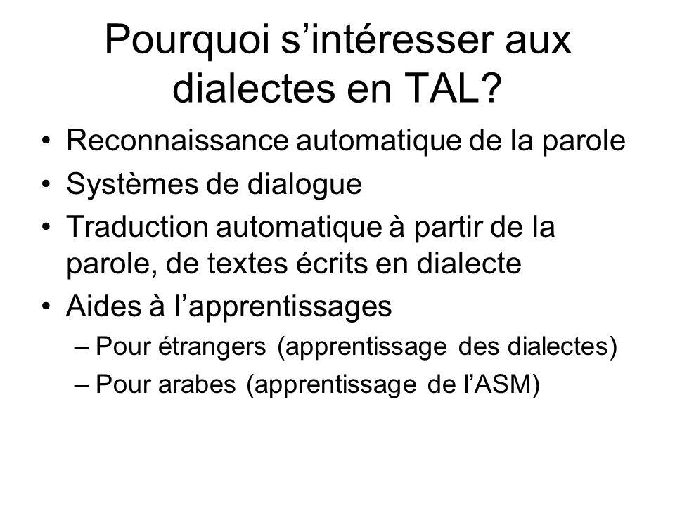 Pourquoi sintéresser aux dialectes en TAL? Reconnaissance automatique de la parole Systèmes de dialogue Traduction automatique à partir de la parole,
