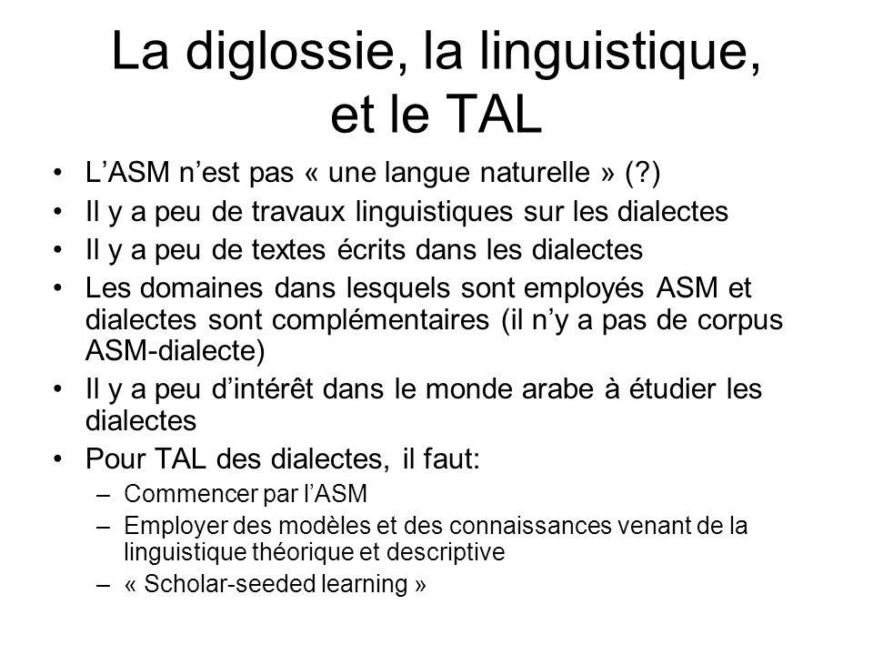 La diglossie, la linguistique, et le TAL LASM nest pas « une langue naturelle » (?) Il y a peu de travaux linguistiques sur les dialectes Il y a peu de textes écrits dans les dialectes Les domaines dans lesquels sont employés ASM et dialectes sont complémentaires (il ny a pas de corpus ASM-dialecte) Il y a peu dintérêt dans le monde arabe à étudier les dialectes Pour TAL des dialectes, il faut: –Commencer par lASM –Employer des modèles et des connaissances venant de la linguistique théorique et descriptive –« Scholar-seeded learning »