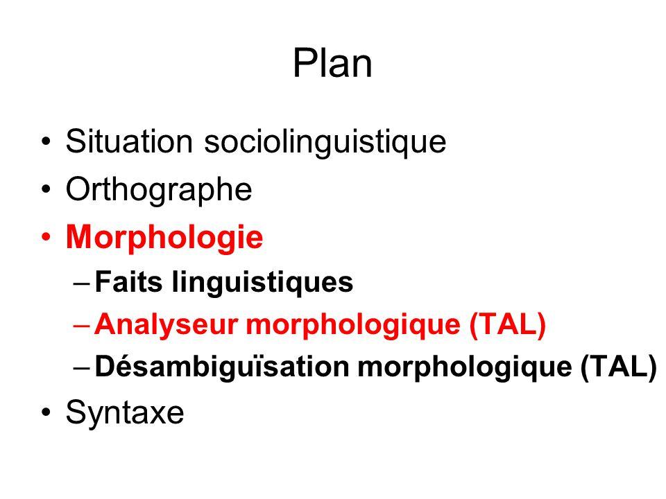 Plan Situation sociolinguistique Orthographe Morphologie –Faits linguistiques –Analyseur morphologique (TAL) –Désambiguïsation morphologique (TAL) Syn