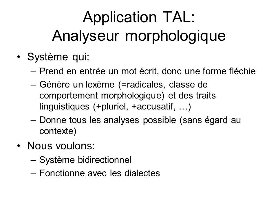 Application TAL: Analyseur morphologique Système qui: –Prend en entrée un mot écrit, donc une forme fléchie –Génère un lexème (=radicales, classe de c