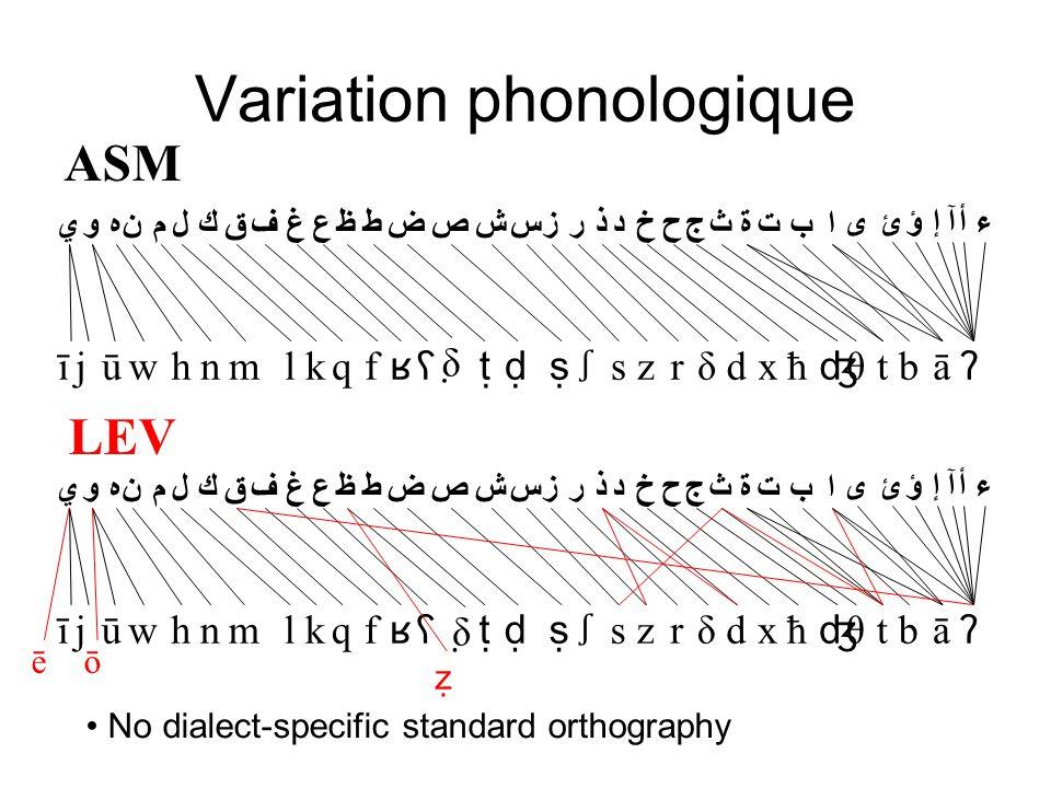 Variation phonologique ā ʔ tb ʤ θxħδdzrs ṣ ʃ ṭḍʕ δ̣ k ʁ qflm تثابجحخدذرزسشصضطظعغفقكلمنهوي ىءأآإؤئ ة hnwjūī LEV ōē ẓ No dialect-specific standard orthography ASM