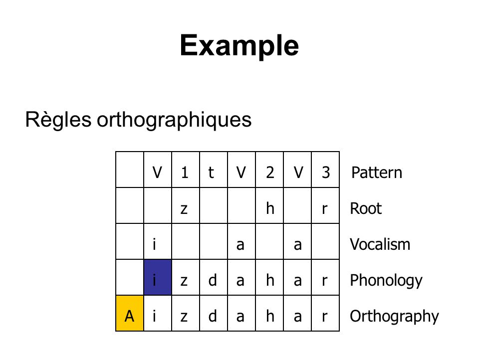 Example Règles orthographiques V1tV2V3zhriaaizdaharizdahar Pattern Root Vocalism Phonology Orthography A