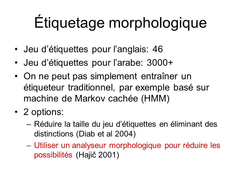 Étiquetage morphologique Jeu détiquettes pour langlais: 46 Jeu détiquettes pour larabe: 3000+ On ne peut pas simplement entraîner un étiqueteur traditionnel, par exemple basé sur machine de Markov cachée (HMM) 2 options: –Réduire la taille du jeu détiquettes en éliminant des distinctions (Diab et al 2004) –Utiliser un analyseur morphologique pour réduire les possibilités (Hajič 2001)
