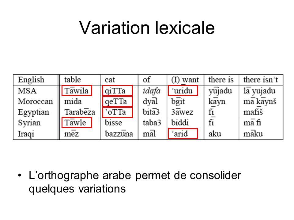 Classification des dialectes Dialectes Régionaux –Arabe maghrébin (MAG) –Arabe égyptien (EGY) –Arabe levantin (LEV) –Arabe du Golfe (GLF) –Arabe iraqien, yéménite, sudanais; le maltais.