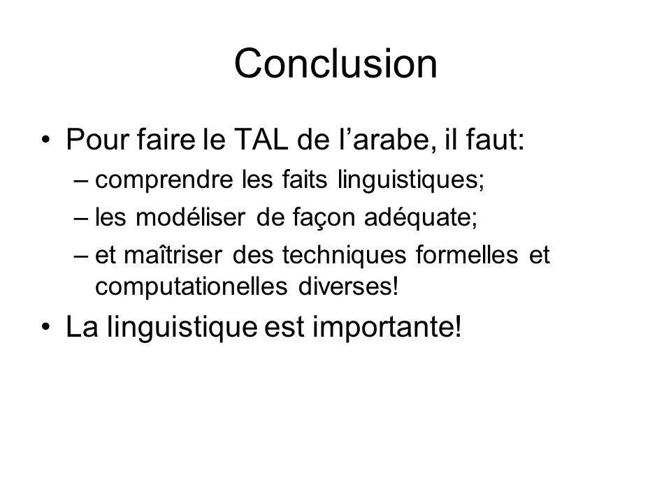 Conclusion Pour faire le TAL de larabe, il faut: –comprendre les faits linguistiques; –les modéliser de façon adéquate; –et maîtriser des techniques f