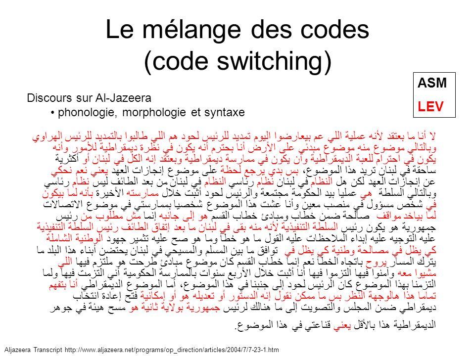 Les niveaux de Badawi Badawi: –Arabe traditionnel –Arabe moderne –Arabe vernaculaire éduqué –Arabe vernaculaire moyen –Arabe vernaculaire analphabète Polyglossie Arabe classique DialecteLangue étrangère