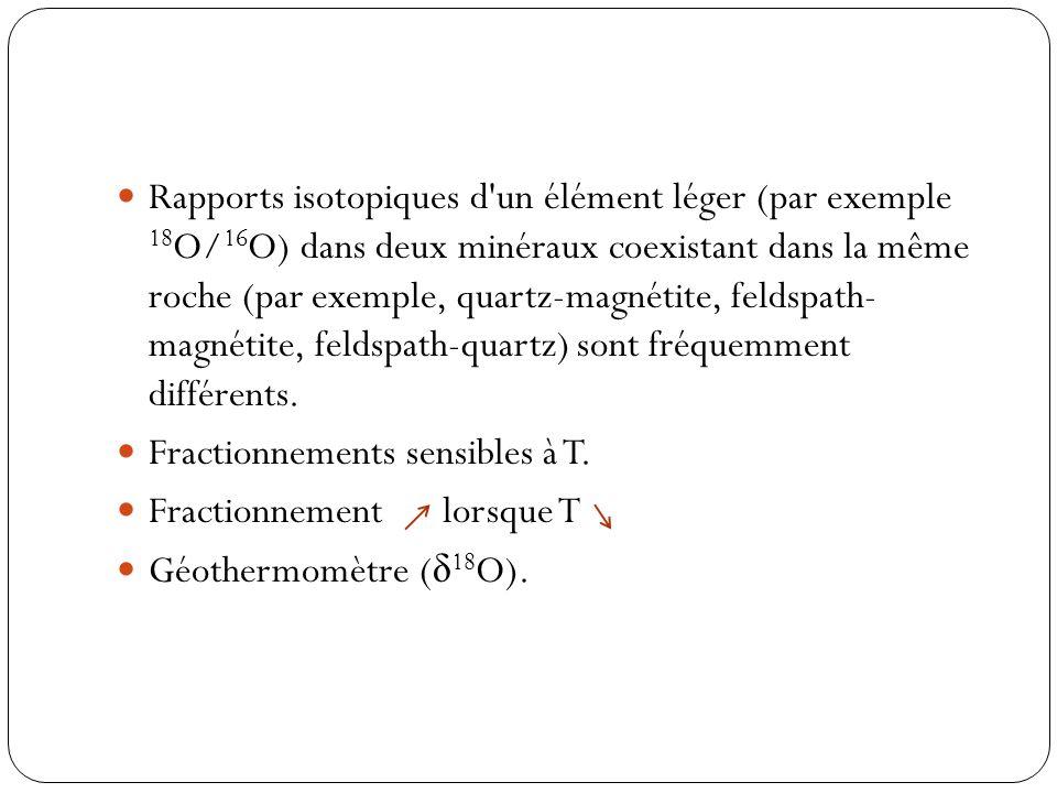 Rapports isotopiques d'un élément léger (par exemple 18 O/ 16 O) dans deux minéraux coexistant dans la même roche (par exemple, quartz-magnétite, feld