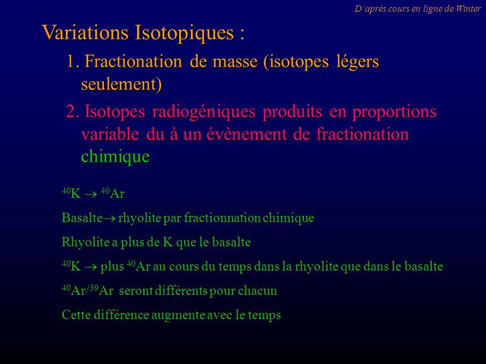 Variations Isotopiques : 1. Fractionation de masse (isotopes légers seulement) 2. Isotopes radiogéniques produits en proportions variable du à un évèn