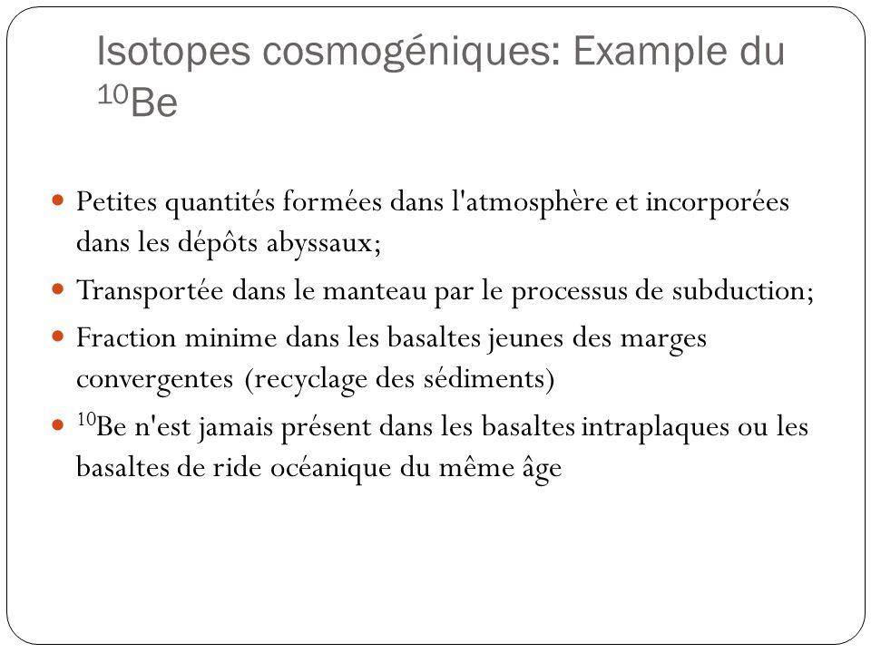 Isotopes cosmogéniques: Example du 10 Be Petites quantités formées dans l atmosphère et incorporées dans les dépôts abyssaux; Transportée dans le manteau par le processus de subduction; Fraction minime dans les basaltes jeunes des marges convergentes (recyclage des sédiments) 10 Be n est jamais présent dans les basaltes intraplaques ou les basaltes de ride océanique du même âge