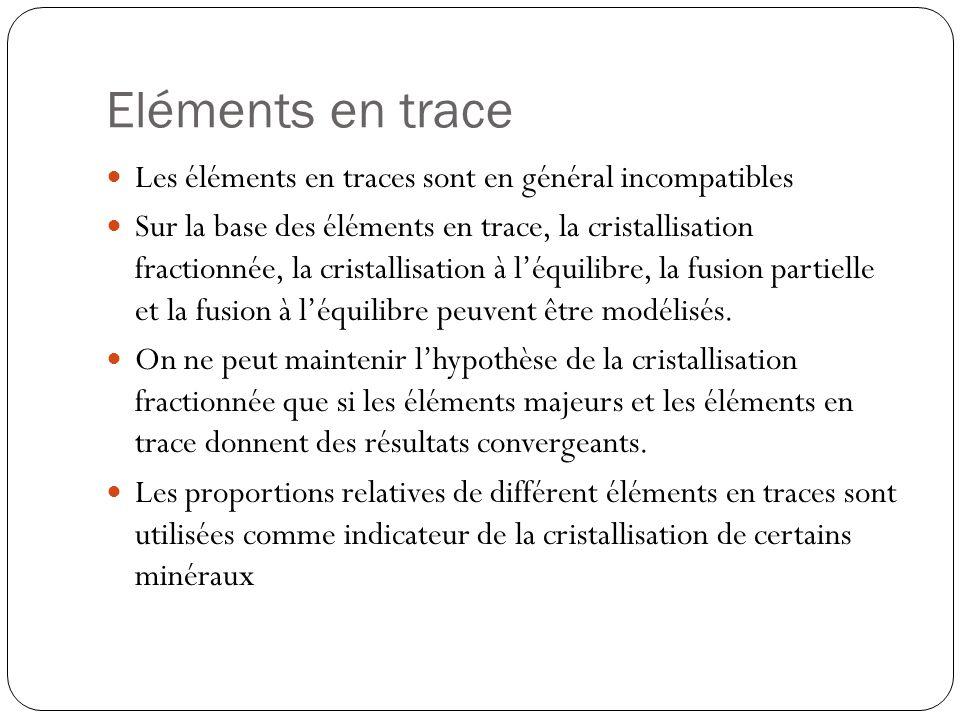 Eléments en trace Les éléments en traces sont en général incompatibles Sur la base des éléments en trace, la cristallisation fractionnée, la cristallisation à léquilibre, la fusion partielle et la fusion à léquilibre peuvent être modélisés.