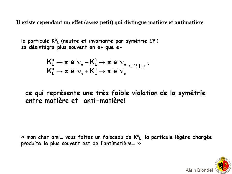 Alain Blondel Il existe cependant un effet (assez petit) qui distingue matière et antimatière la particule K 0 L (neutre et invariante par symétrie CP