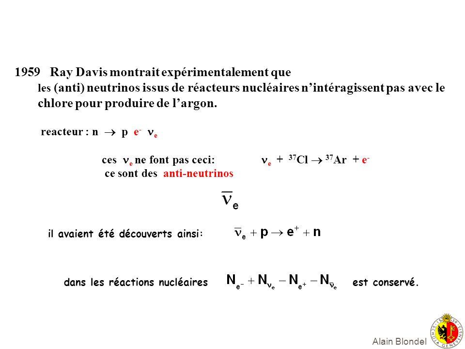 Alain Blondel 1959 Ray Davis montrait expérimentalement que les (anti) neutrinos issus de réacteurs nucléaires nintéragissent pas avec le chlore pour