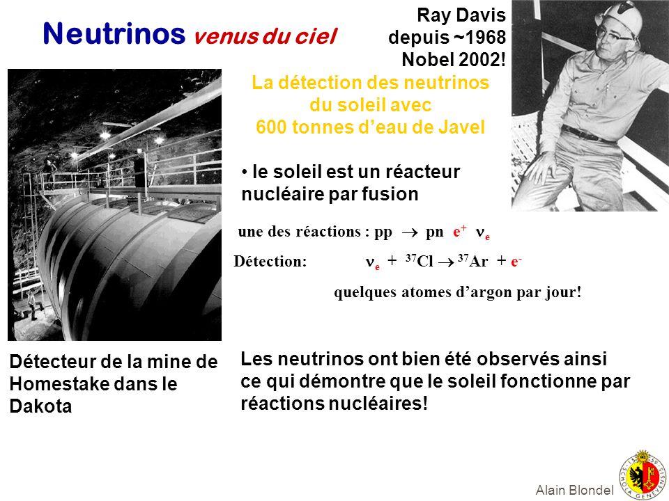 Alain Blondel Neutrinos venus du ciel Ray Davis depuis ~1968 Nobel 2002! La détection des neutrinos du soleil avec 600 tonnes deau de Javel le soleil