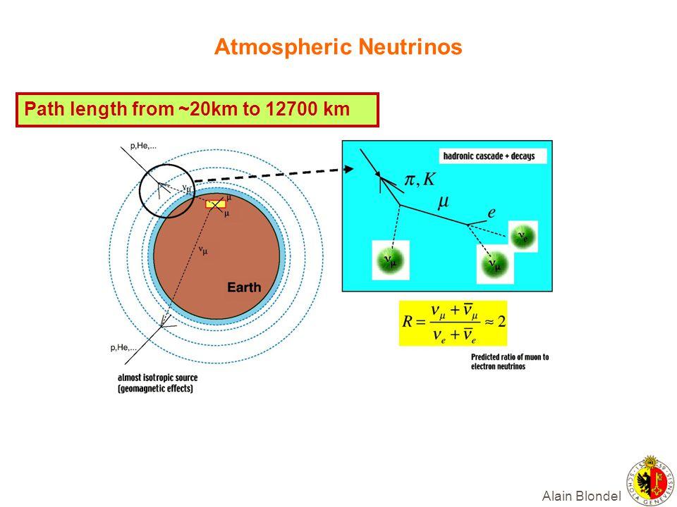 Alain Blondel Atmospheric Neutrinos Path length from ~20km to 12700 km