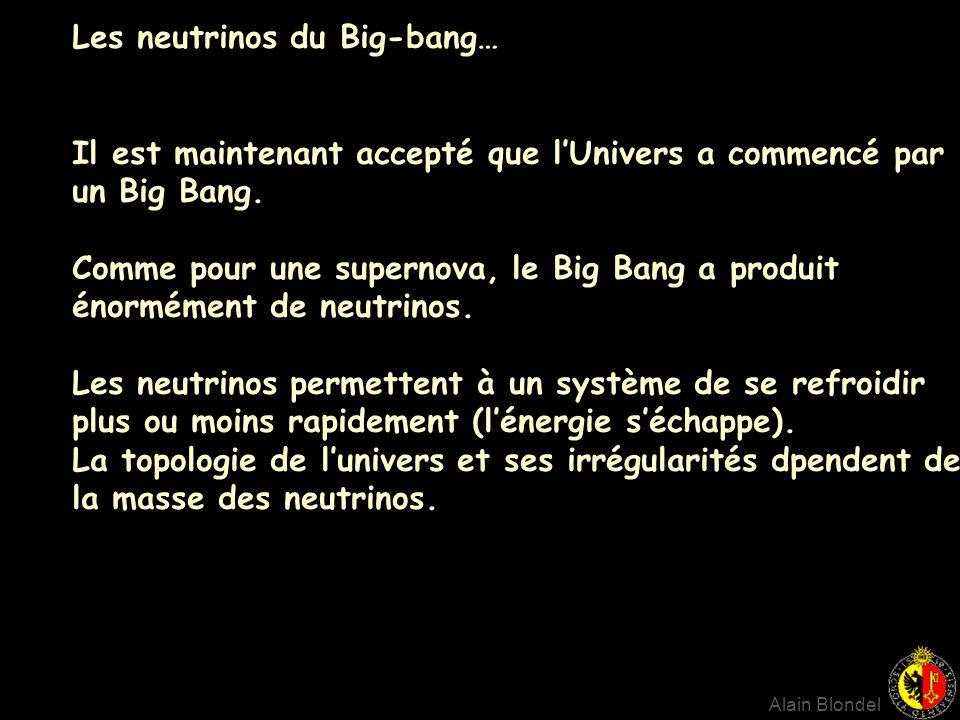Les neutrinos du Big-bang… Il est maintenant accepté que lUnivers a commencé par un Big Bang. Comme pour une supernova, le Big Bang a produit énorméme