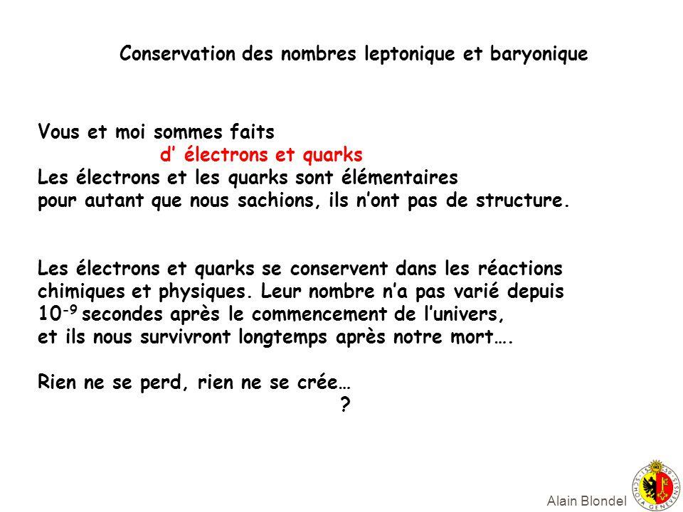 Alain Blondel Vous et moi sommes faits d électrons et quarks Les électrons et les quarks sont élémentaires pour autant que nous sachions, ils nont pas