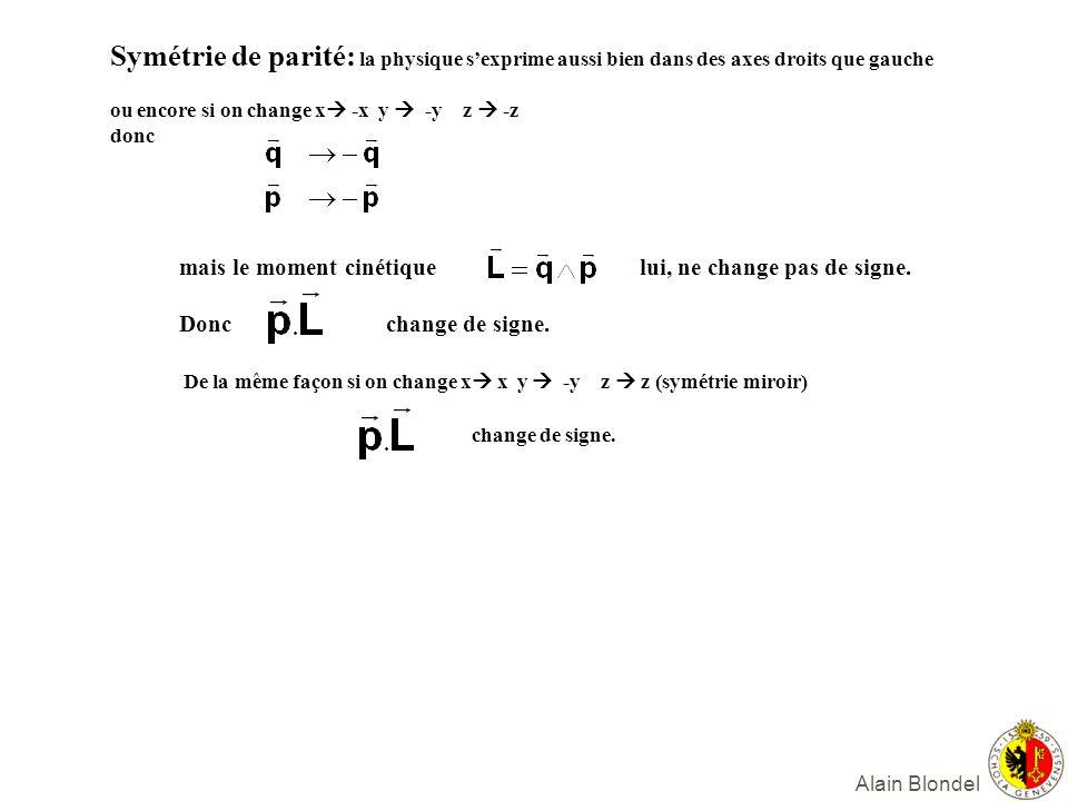 Alain Blondel e e d u Famille 1 mc 2 =0.0005 GeV mc 2 <3 eV mc 2 =0.005 GeV mc 2 =0.003 GeV <3 eV étrange charmé Famille 2 0.106 GeV 0.200 GeV 1.5 GeV beau top Famille 3 1,77 GeV <3 eV 5 GeV mc 2 =175 GeV Le Modèle Standard: 3 familles de quarks Et leptons de spin ½ qui interagissent avec des bosons de spin 1 ( W&Z, gluons) leptons chargés leptons neutres = neutrinos quarks