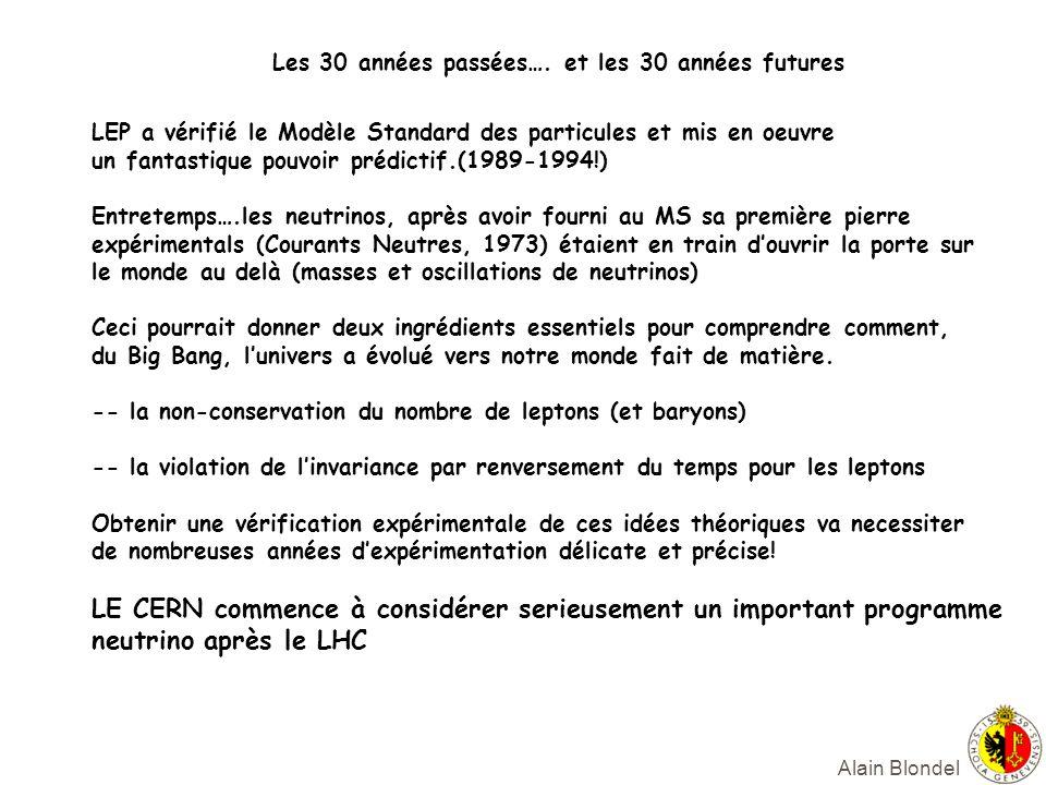 Alain Blondel LEP a vérifié le Modèle Standard des particules et mis en oeuvre un fantastique pouvoir prédictif.(1989-1994!) Entretemps….les neutrinos