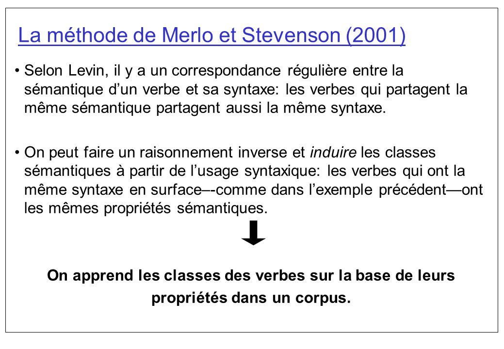 La méthode de Merlo et Stevenson (2001) Selon Levin, il y a un correspondance régulière entre la sémantique dun verbe et sa syntaxe: les verbes qui pa