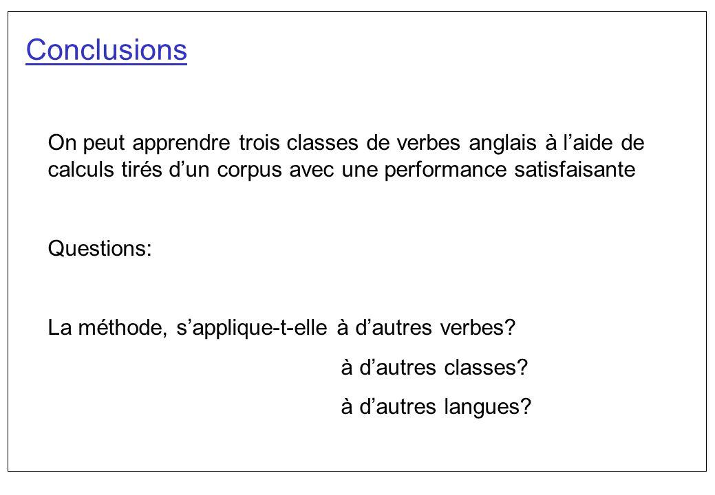 Conclusions On peut apprendre trois classes de verbes anglais à laide de calculs tirés dun corpus avec une performance satisfaisante Questions: La mét
