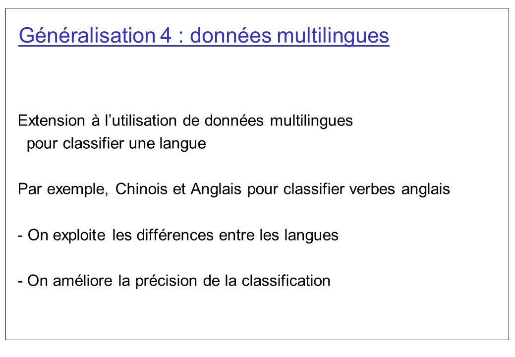 Généralisation 4 : données multilingues Extension à lutilisation de données multilingues pour classifier une langue Par exemple, Chinois et Anglais po