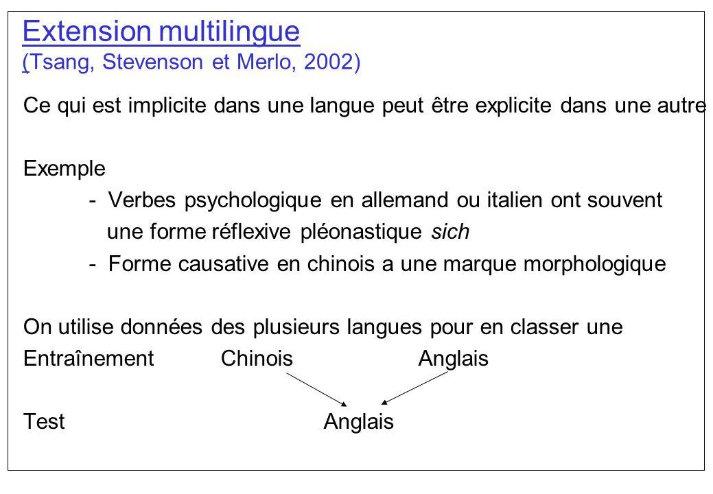 Extension multilingue (Tsang, Stevenson et Merlo, 2002) Ce qui est implicite dans une langue peut être explicite dans une autre Exemple - Verbes psych