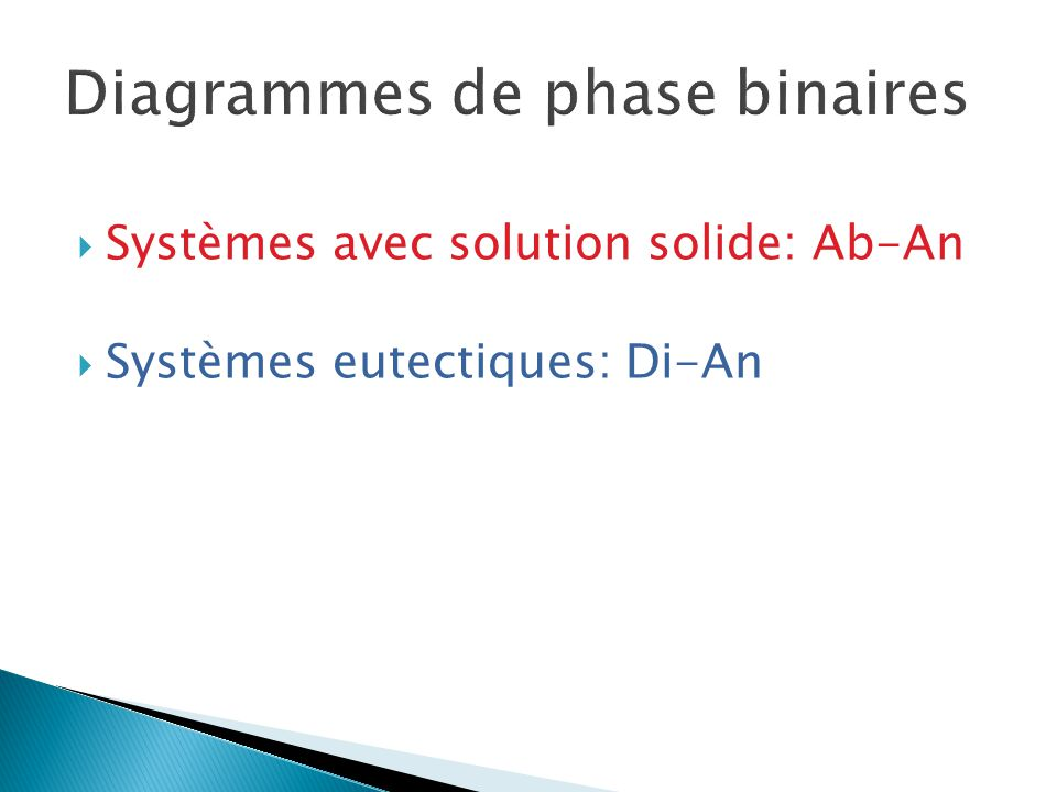 1.Plagioclase (Ab-An, NaAlSi 3 O 8 - CaAl 2 Si 2 O 8 ) Solution Solide Complète Fig.