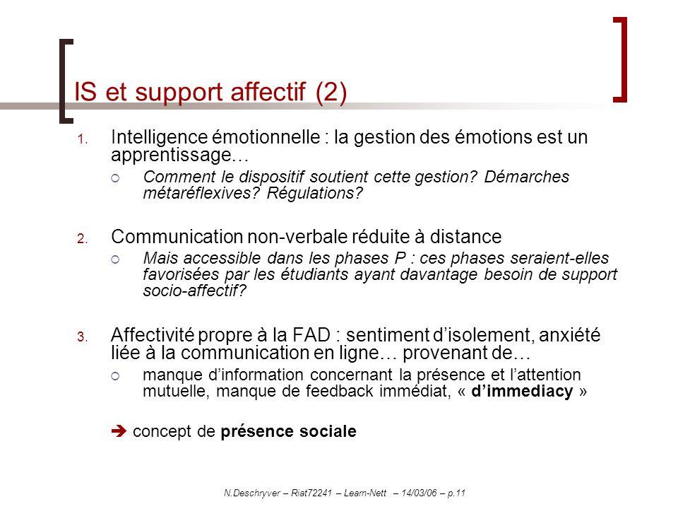 N.Deschryver – Riat72241 – Learn-Nett – 14/03/06 – p.11 IS et support affectif (2) 1. Intelligence émotionnelle : la gestion des émotions est un appre