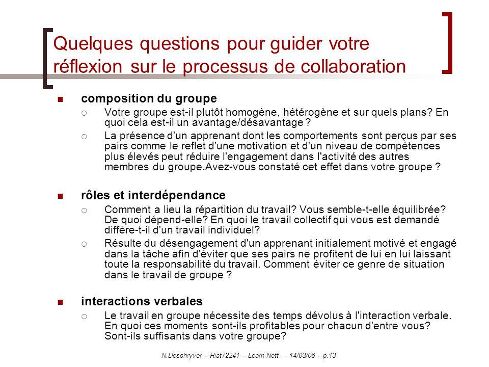 N.Deschryver – Riat72241 – Learn-Nett – 14/03/06 – p.13 Quelques questions pour guider votre réflexion sur le processus de collaboration composition d