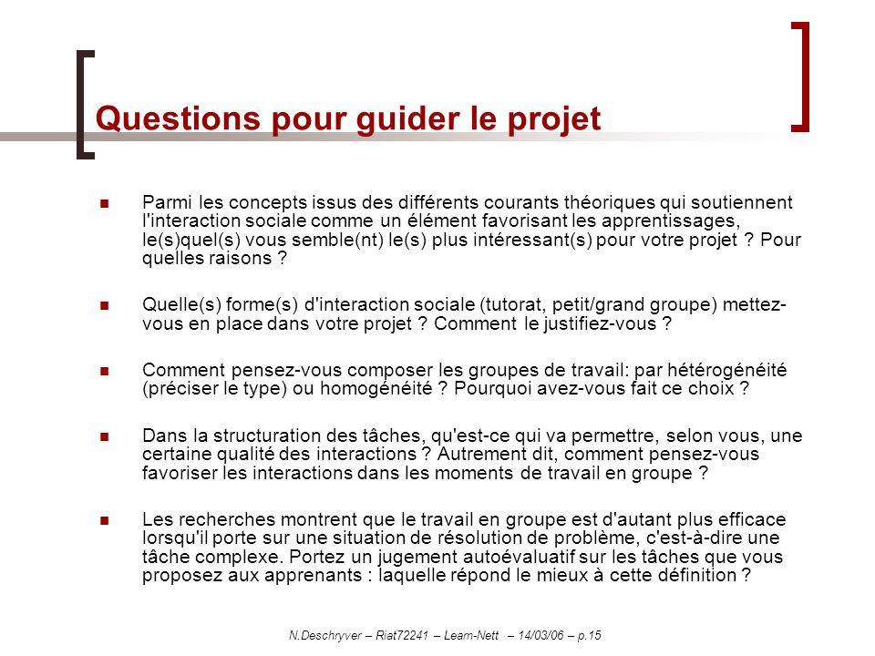 N.Deschryver – Riat72241 – Learn-Nett – 14/03/06 – p.15 Questions pour guider le projet Parmi les concepts issus des différents courants théoriques qu