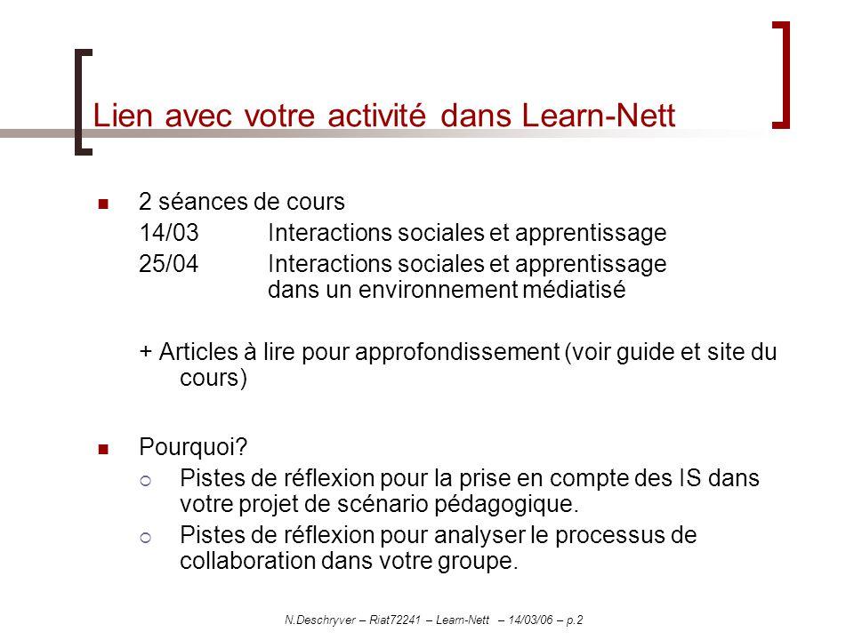 N.Deschryver – Riat72241 – Learn-Nett – 14/03/06 – p.2 Lien avec votre activité dans Learn-Nett 2 séances de cours 14/03 Interactions sociales et appr