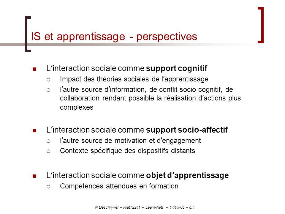 N.Deschryver – Riat72241 – Learn-Nett – 14/03/06 – p.4 IS et apprentissage - perspectives L interaction sociale comme support cognitif Impact des th é
