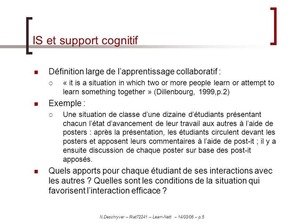 N.Deschryver – Riat72241 – Learn-Nett – 14/03/06 – p.5 IS et support cognitif Définition large de lapprentissage collaboratif : « it is a situation in