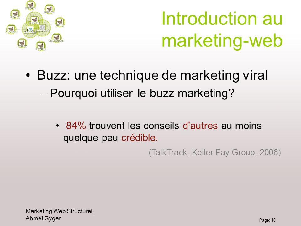 Marketing Web Structurel, Ahmet Gyger Page: 10 Introduction au marketing-web Buzz: une technique de marketing viral –Pourquoi utiliser le buzz marketi