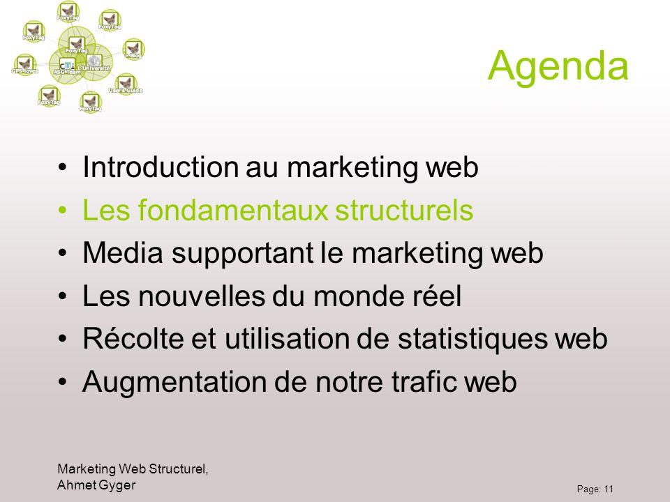 Marketing Web Structurel, Ahmet Gyger Page: 11 Agenda Introduction au marketing web Les fondamentaux structurels Media supportant le marketing web Les